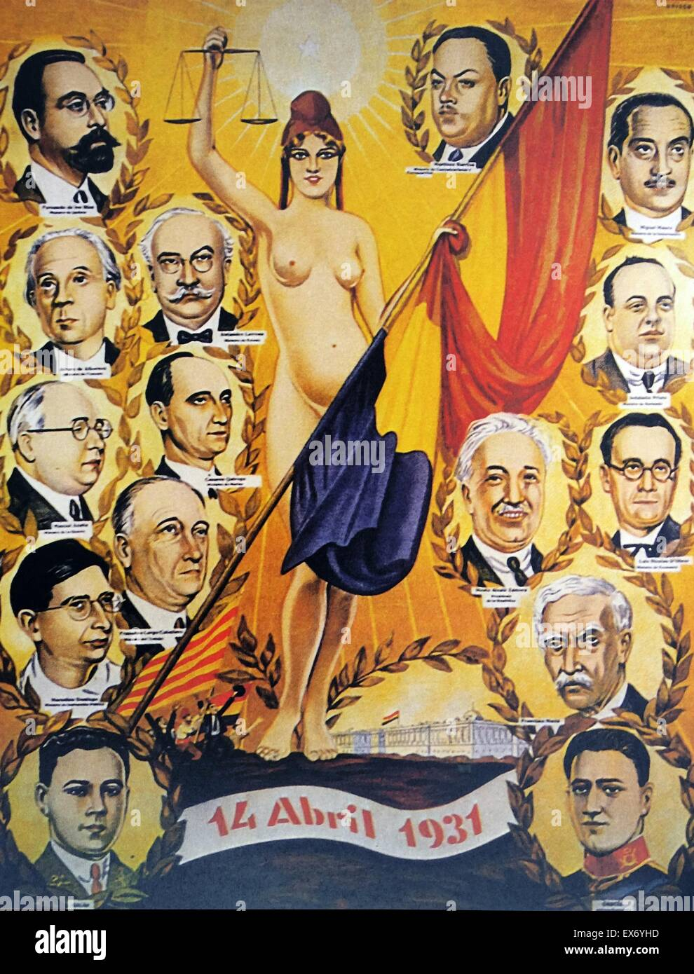 A poster celebrating the leaders of the Spanish Republic 1931 - Stock Image