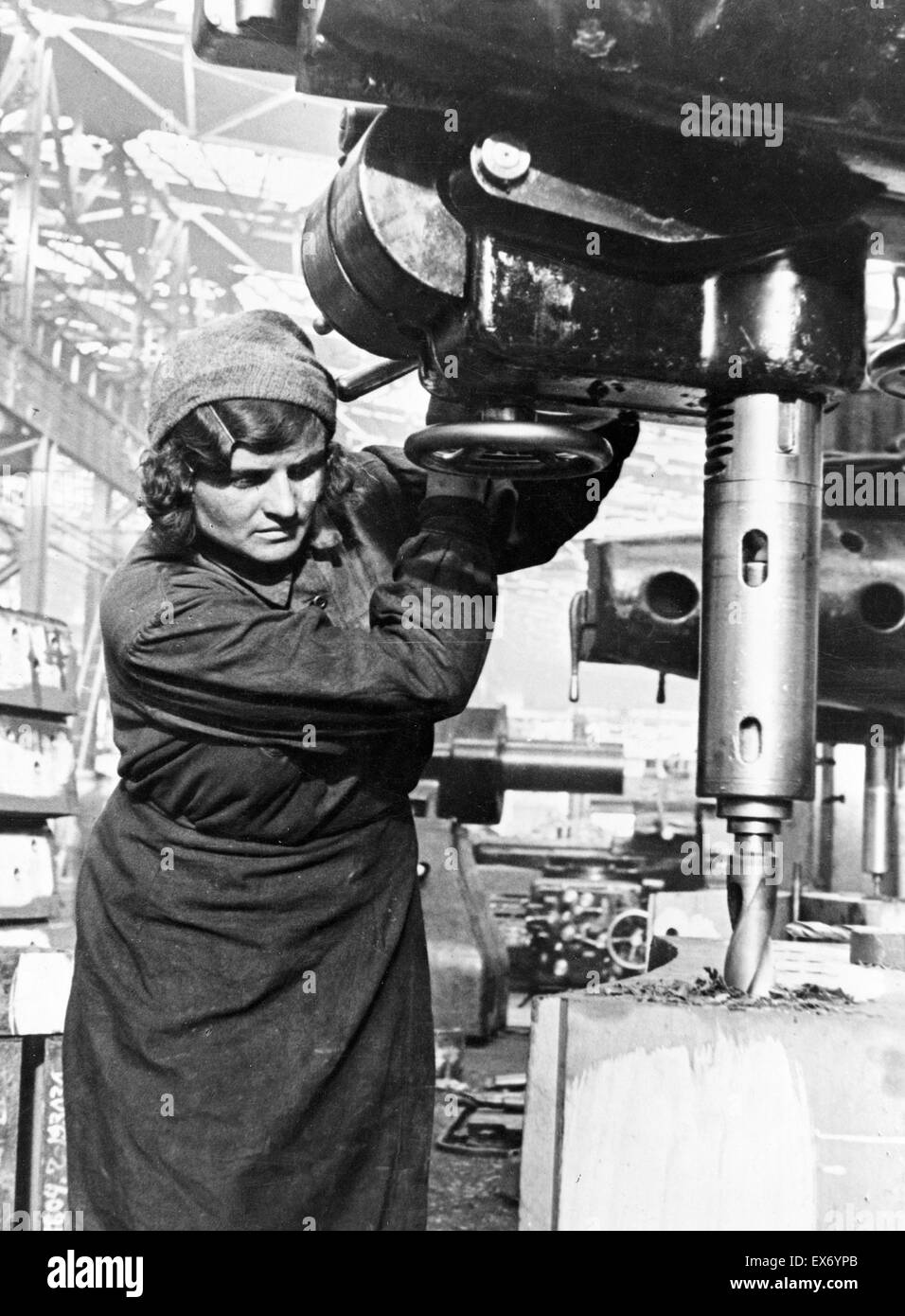 Moscow's factories, where thousands of women replaced men during World War Two. - Stock Image