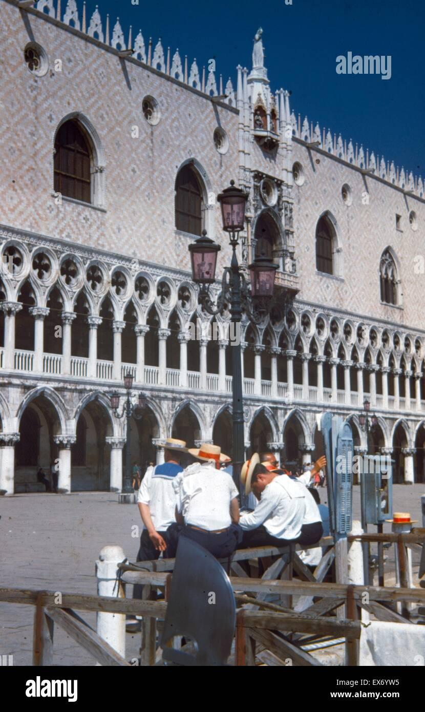 Post world war two: Unemployed gondoliers Doge's Palace, Venice; Italy 1945 - Stock Image