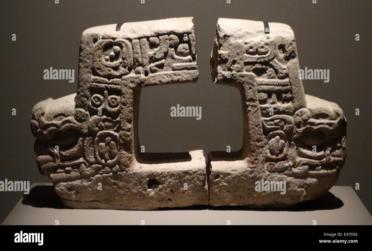 Mayan two-headed altar, representing the bird Muwaan, associated with the night sky and underworld. From Moral-Reforma, - Stock Image