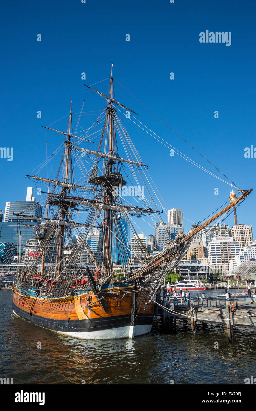 Captain Cook's replica ship 'Endeavour', Darling Harbour, Sydney, Australia - Stock Image