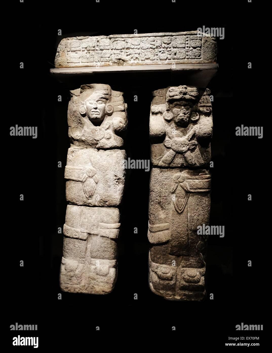 Mayan Atlante (Caryatid figure) from Chichen Itza, limestone, ancient post-classic era (900 - 1250 CE), - Stock Image