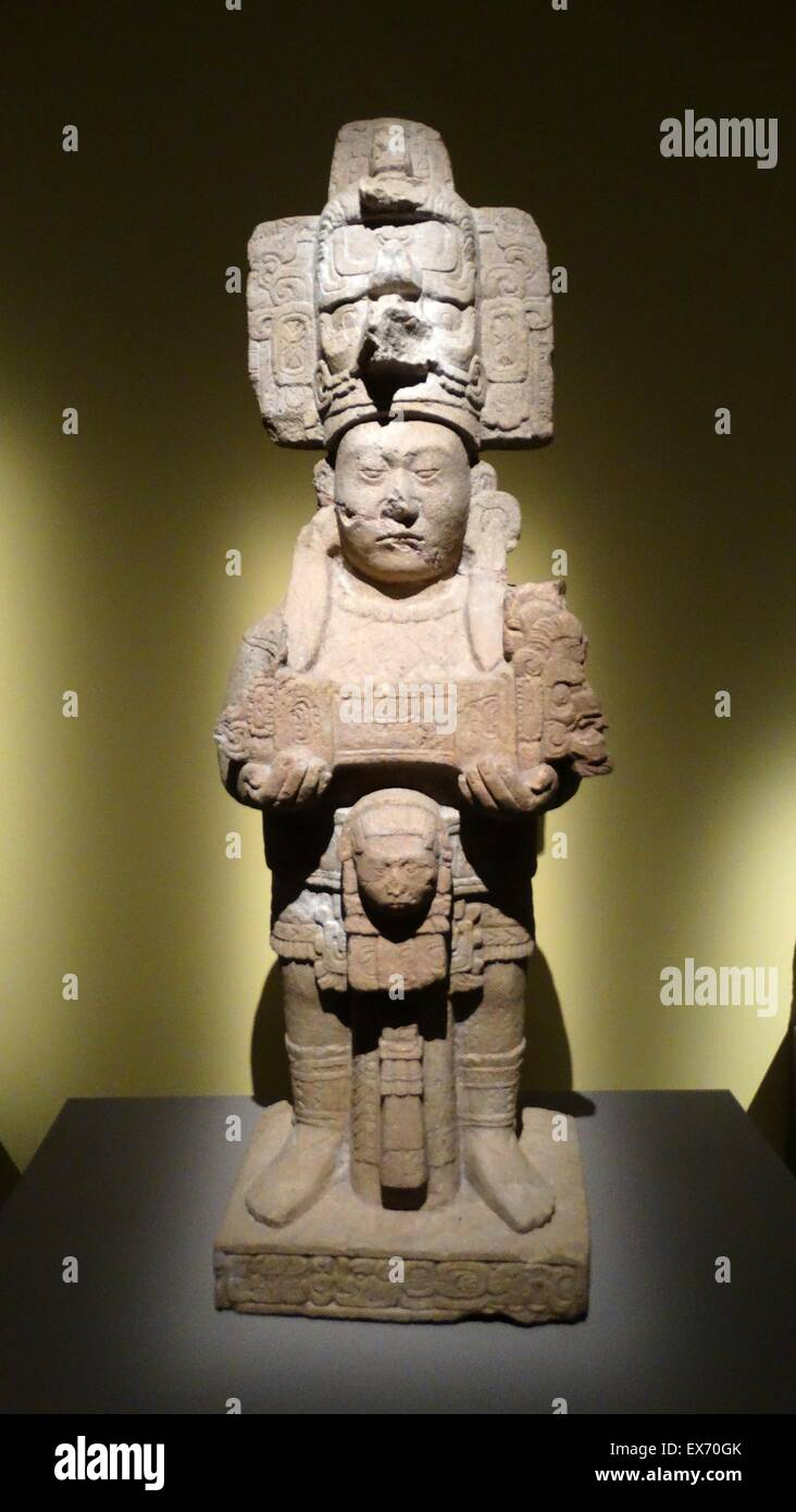 Monument 146 from representing K'inich the 8th Mayan King of Tonina, Chiapas, Mexico. 787-806 AD - Stock Image