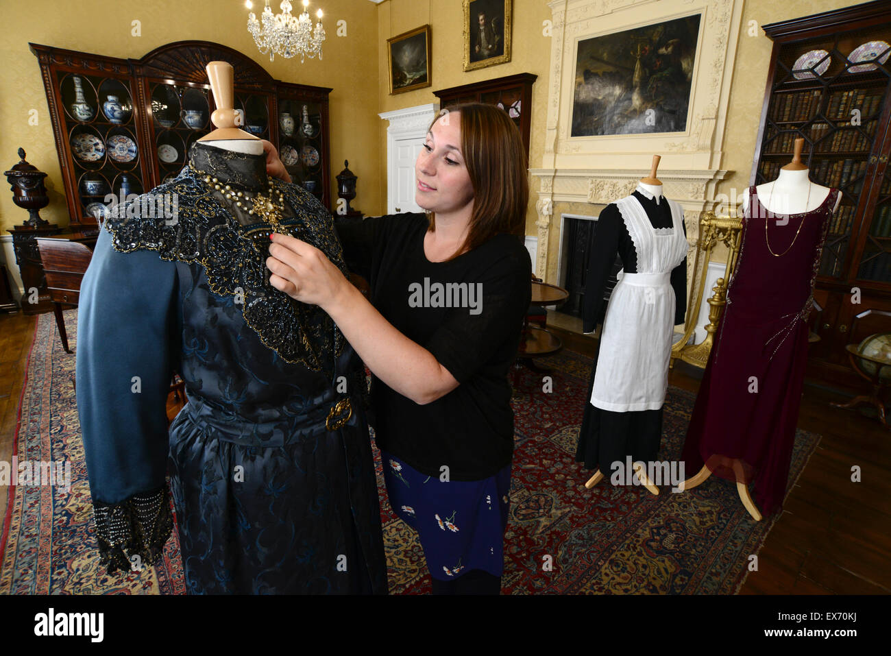 jemma conway with costumes from television drama series downton