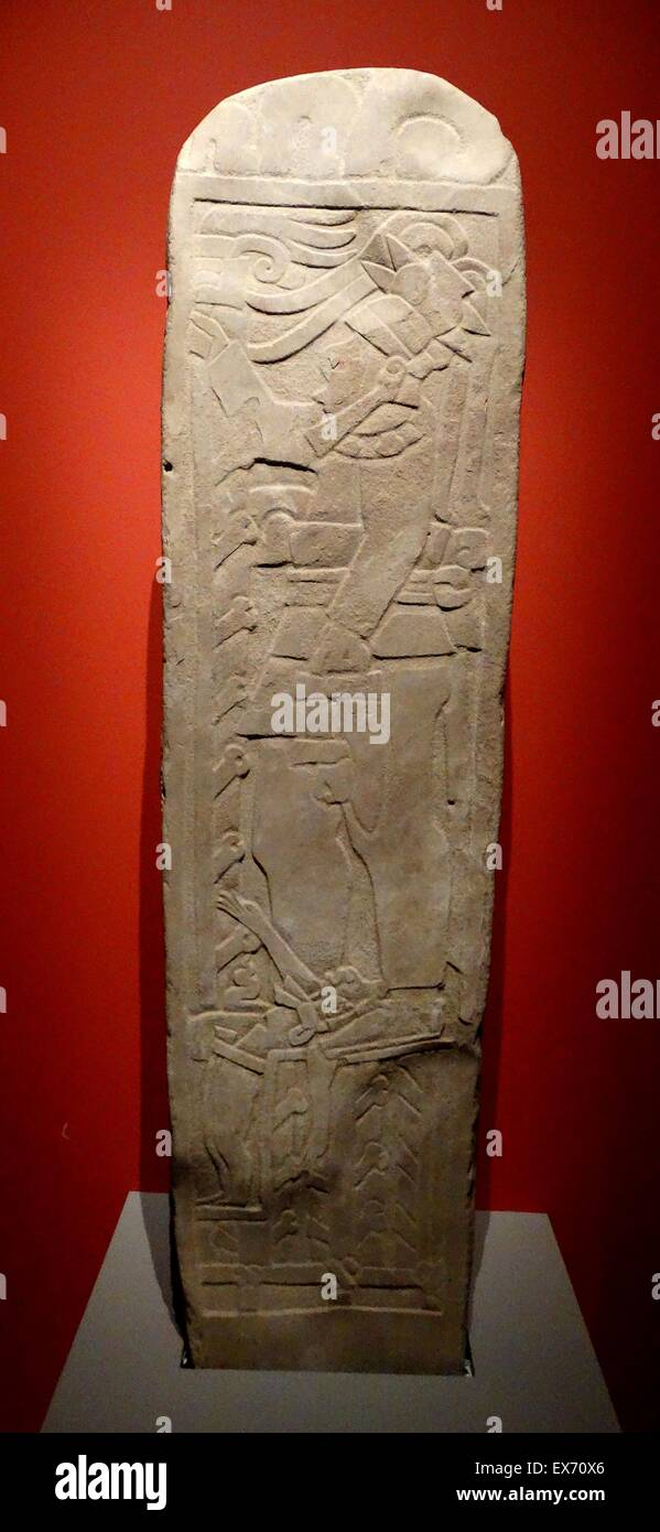 A 1000-year-old stele engraved with the image of a Mayan ruler. Found in the Lagartero archaeological area of Chiapas, - Stock Image