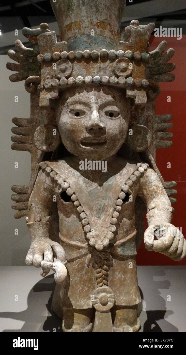 Post-classic Mayan, ceramic Incense burner, representing a female divinity. From Mayapan, Yucatan, Mexico 1250-1550 - Stock Image