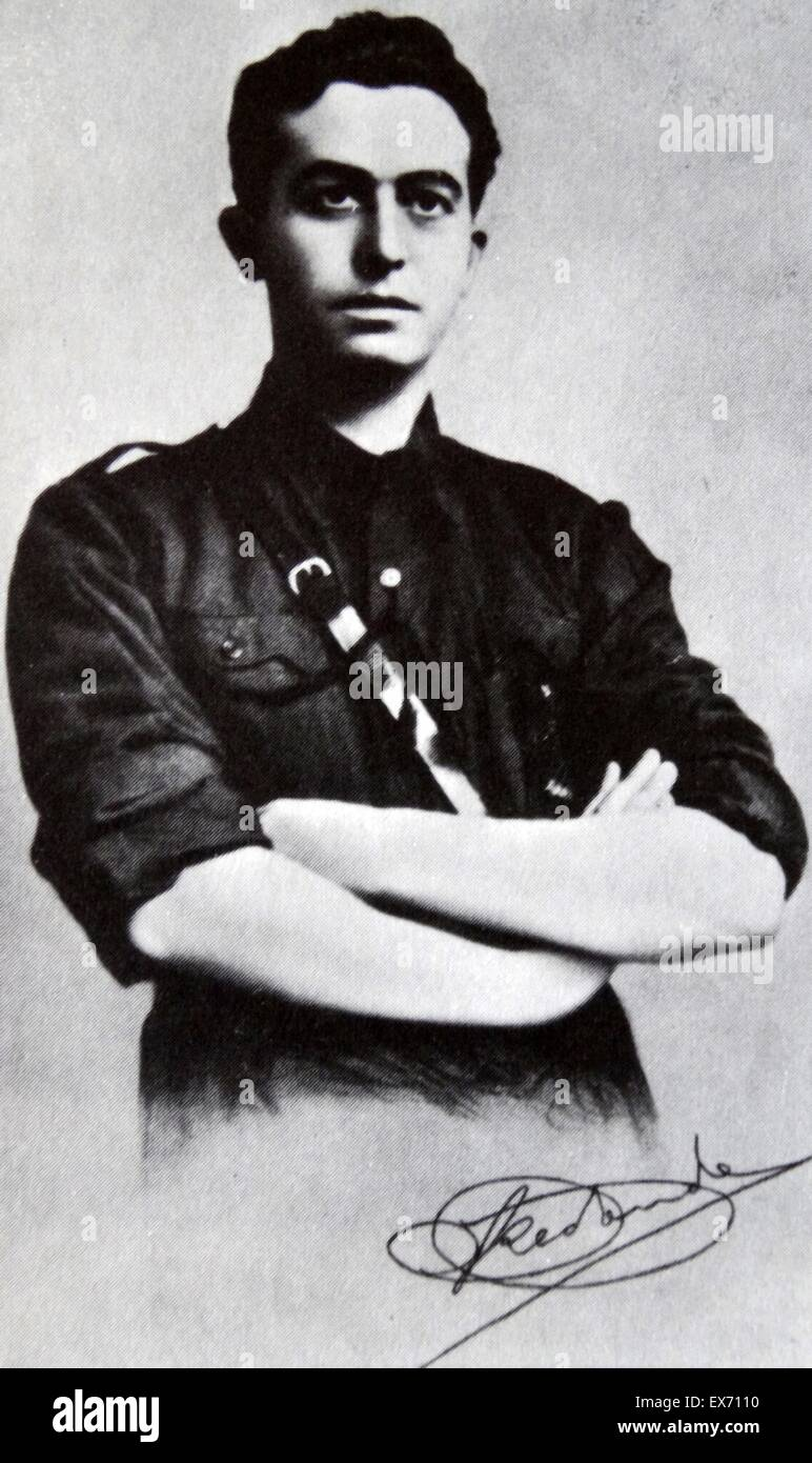 Onésimo Redondo Ortega 1905 – 1936, July 24) Spanish Falangist Fascist politician, founder of Juntas Castellanas - Stock Image