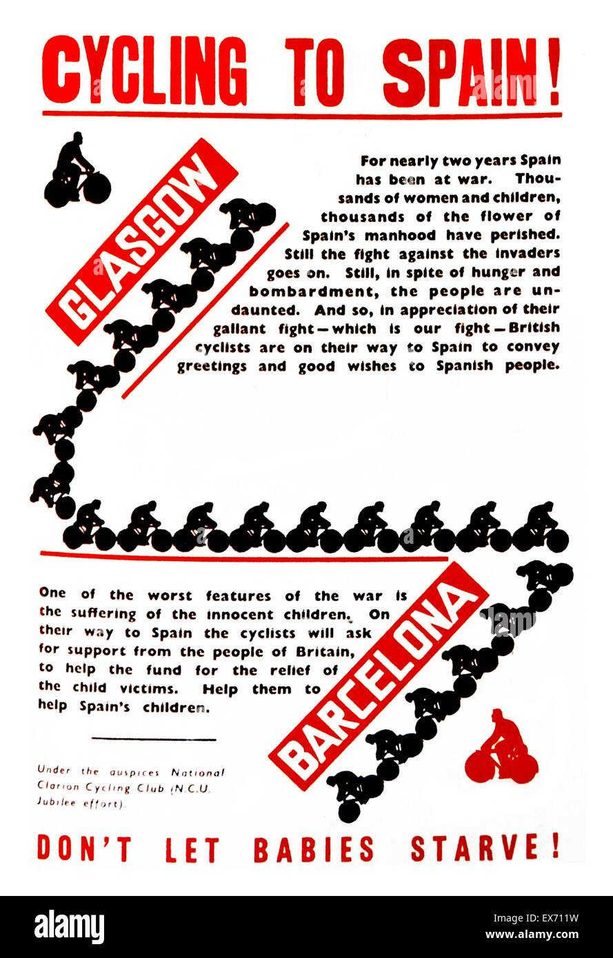 Poster from May 1938 to advertise two members of the Clarion Cycling Club cycled who from Glasgow to Barcelona, Stock Photo