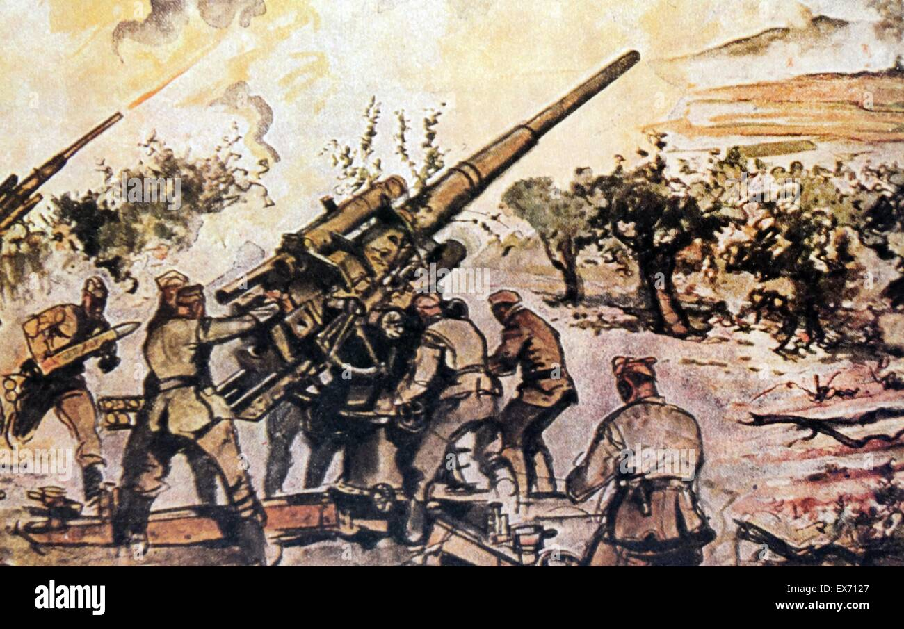 German Aufklärungsgruppe See 88 (AS/88), an anti-aircraft artillery group, in action during the Spanish civil - Stock Image