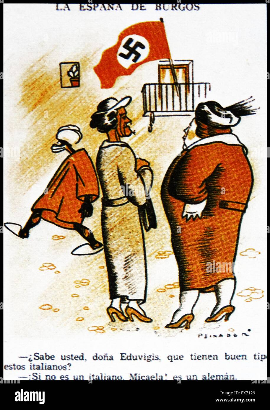 Anti-German cartoon depicting the stealth of the entry of German support for the Nationalist side during the Spanish - Stock Image