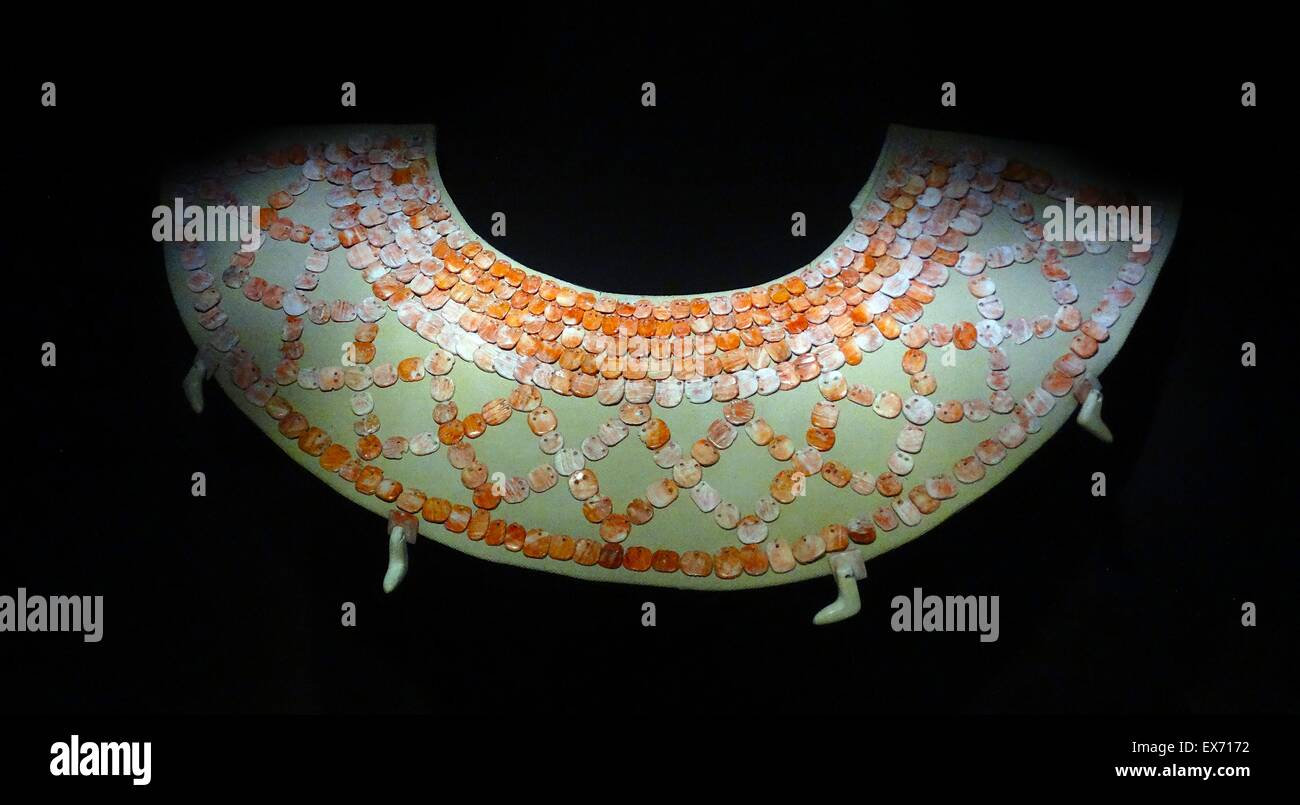 Mayan shell pectoral worn around the neck during ceremonies. Calakmul, Campeche; Mexico 600-900 AD - Stock Image