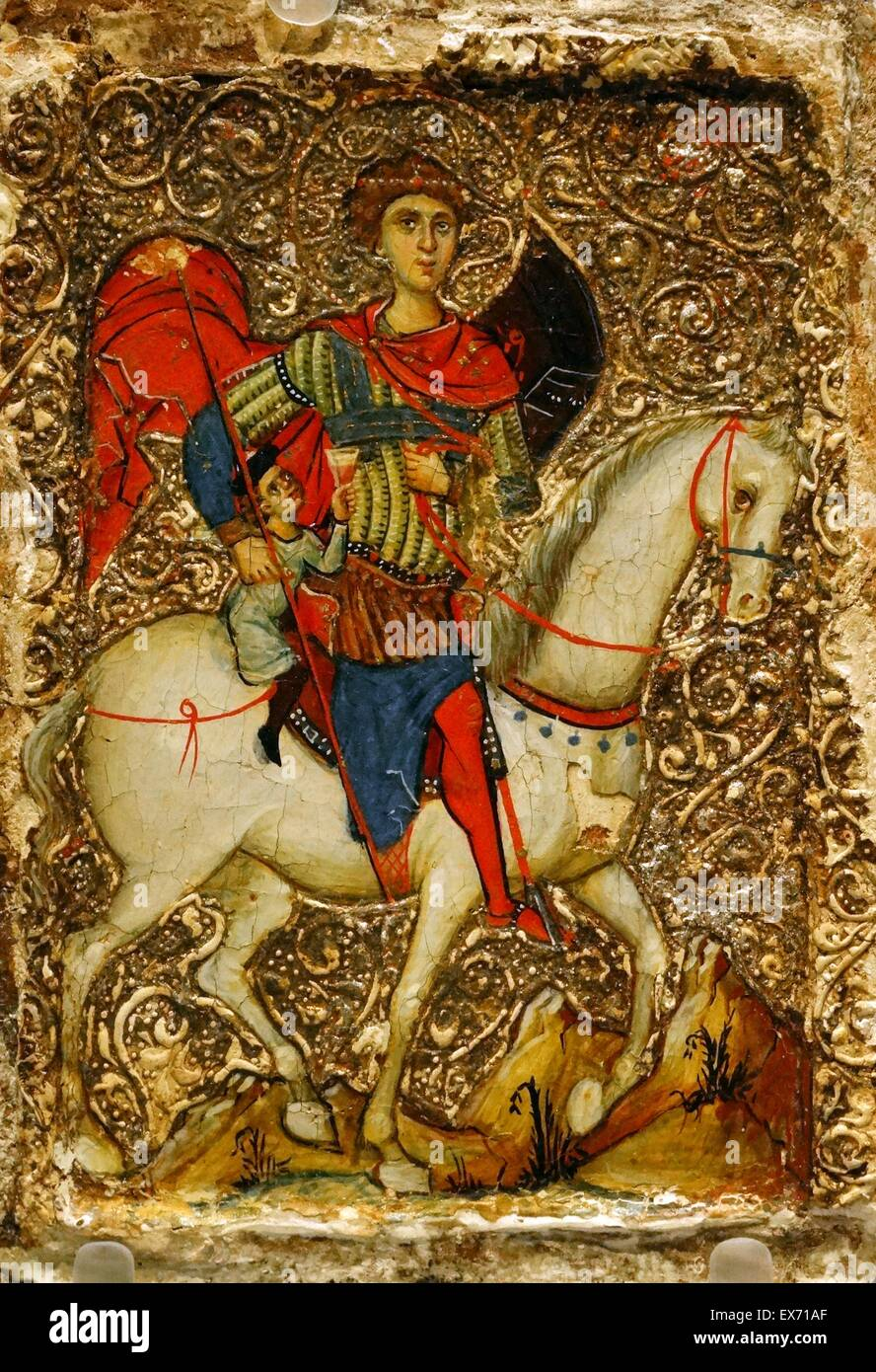 Icon showing St George and the youth of Mytilene. legend about a Christian youth enslaved by Muslims on the island - Stock Image