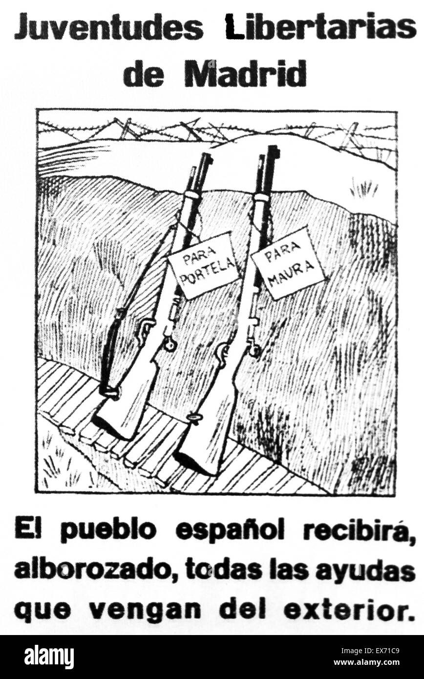 Poster showing how the International Brigades, were appreciated in republican areas, during the Spanish Civil war. - Stock Image