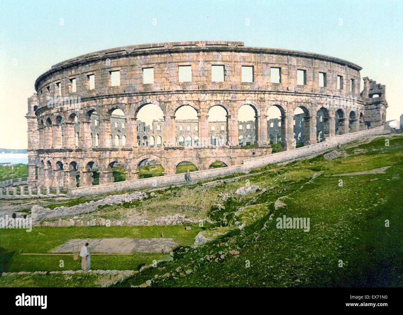 Pula, the Roman arena, Istria, Austro-Hungary in 1900 The Pula Arena is the name of the amphitheatre located in - Stock Image