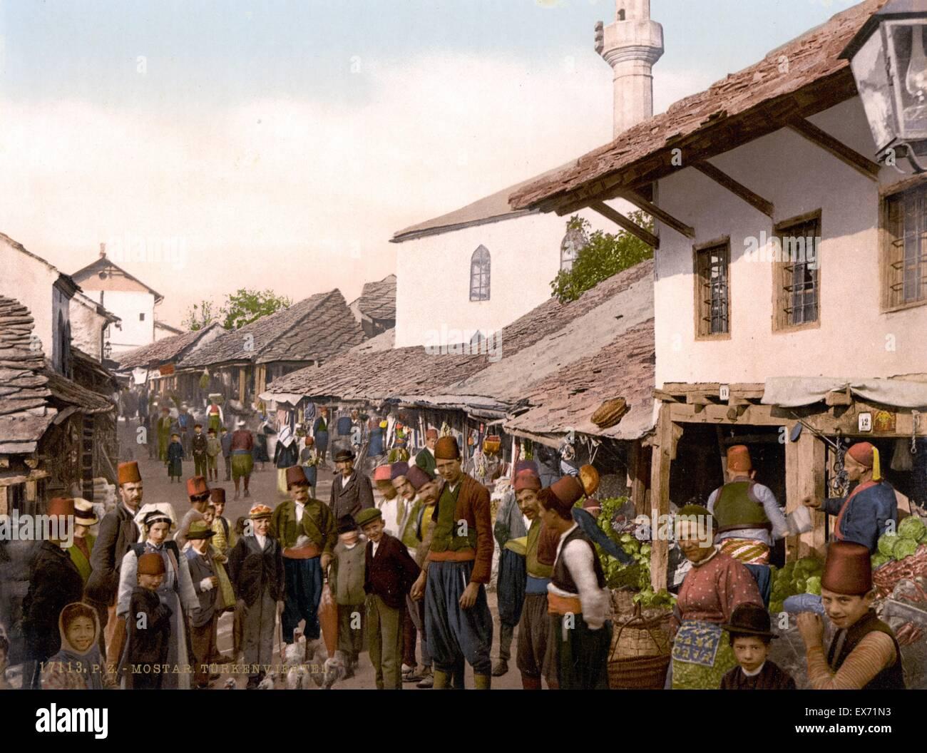 Mostar, Turkish quarter, Herzegovina, Austro-Hungary 1900 - Stock Image