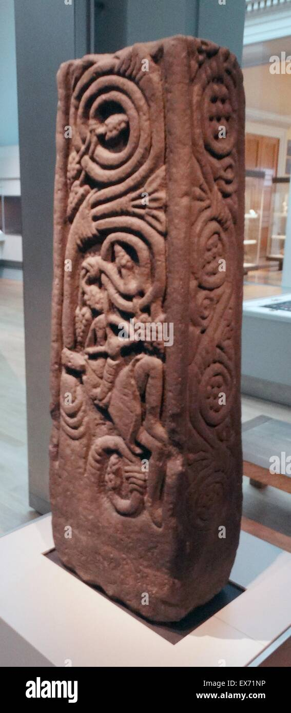 Anglo-Saxon stone cross-shaft fragment from the shaft of a larga, free-standing stone cross, carved with Christian - Stock Image