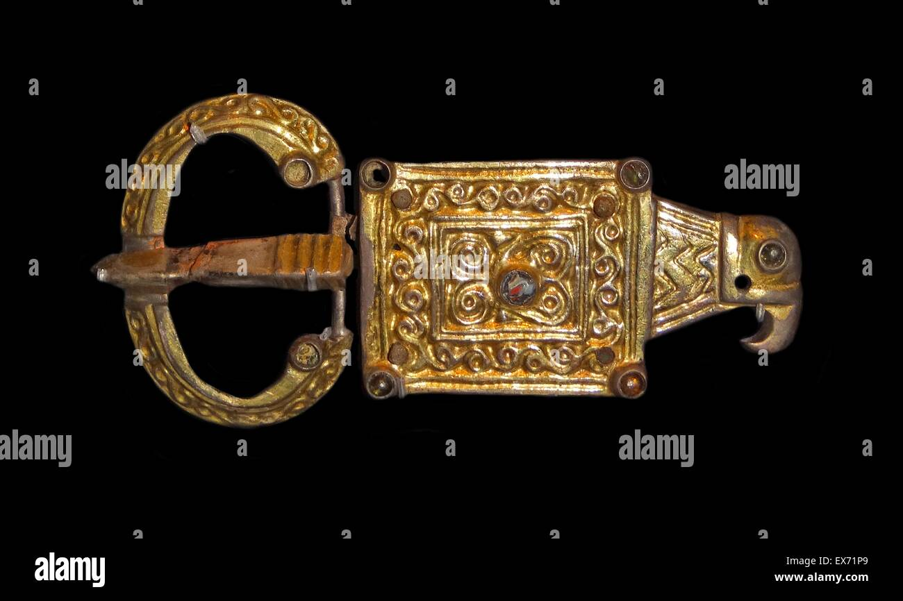 Gothic style buckle with rectangular plate deriving from Roman forms. The decoration reveals regional Gothic fashion. - Stock Image