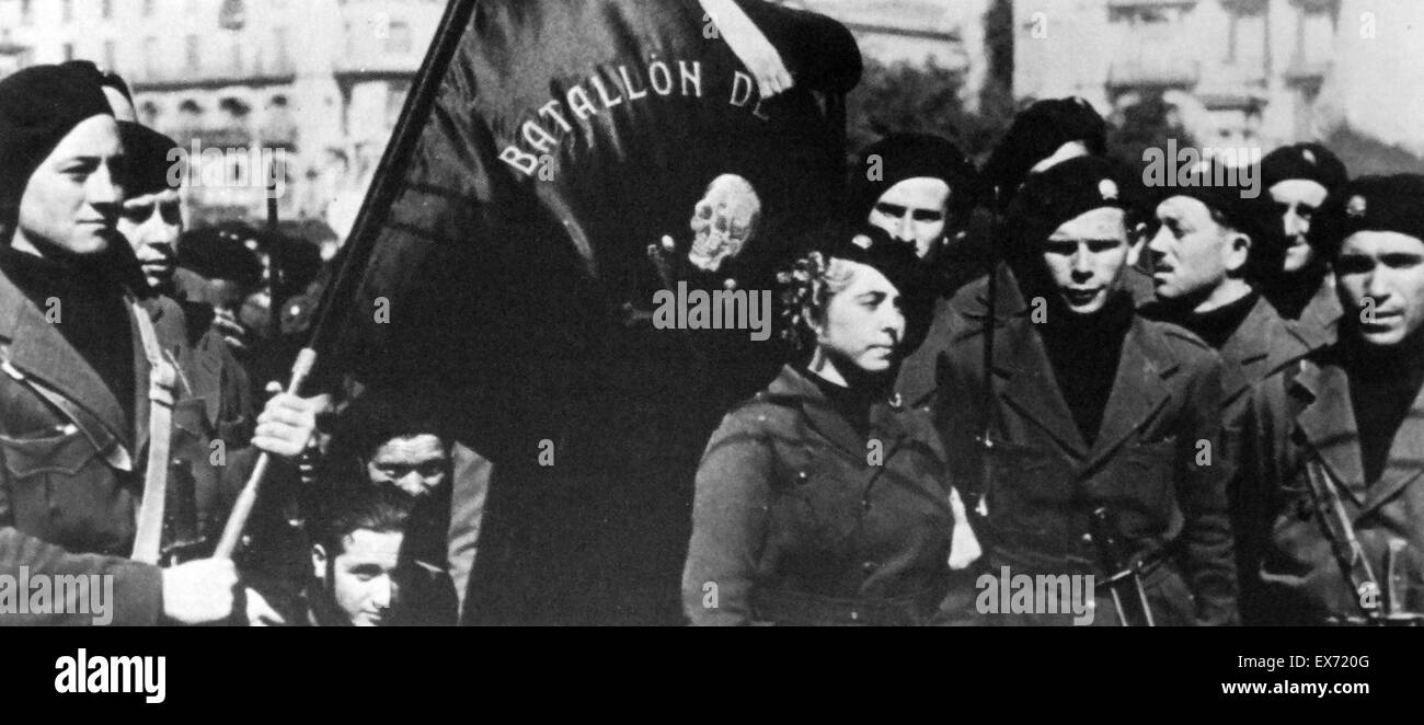 Italian anarchists of the Battalion de la Muerte (Battalion of death), during the Spanish Civil War - Stock Image