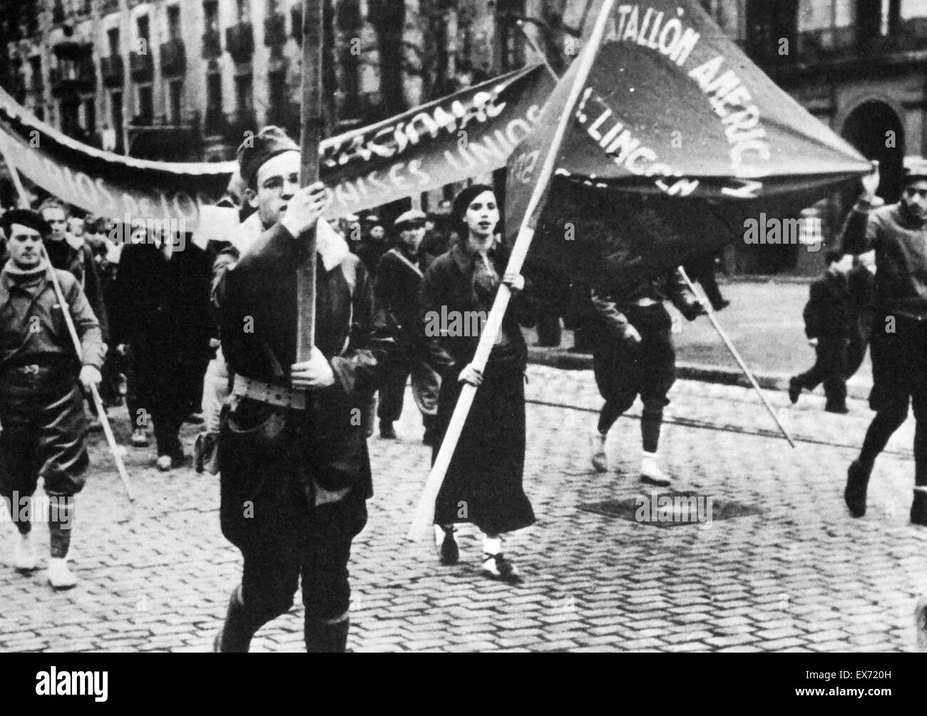 The American Lincoln battalion of the International Brigades during the Spanish Civil War 1937 - Stock Image