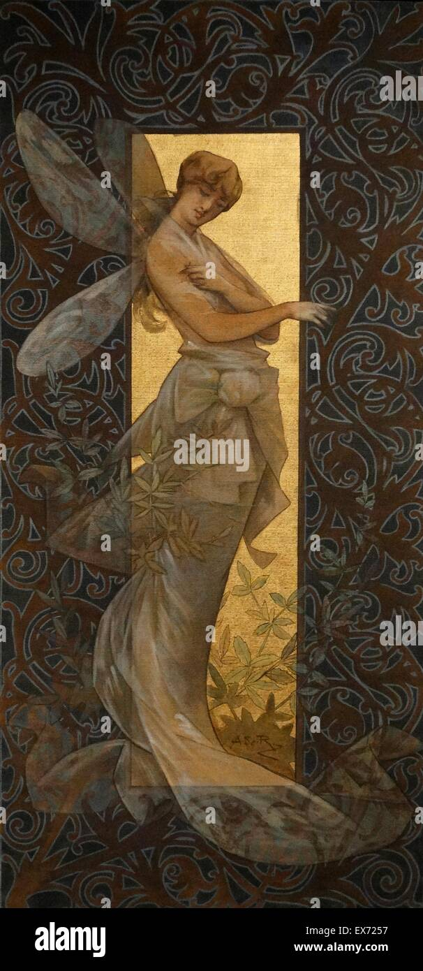 Alexandre de Riquer (1856 - 1920) Spanish artist: Composition with winged nymph at sunrise 1887. Tempera on canvas - Stock Image