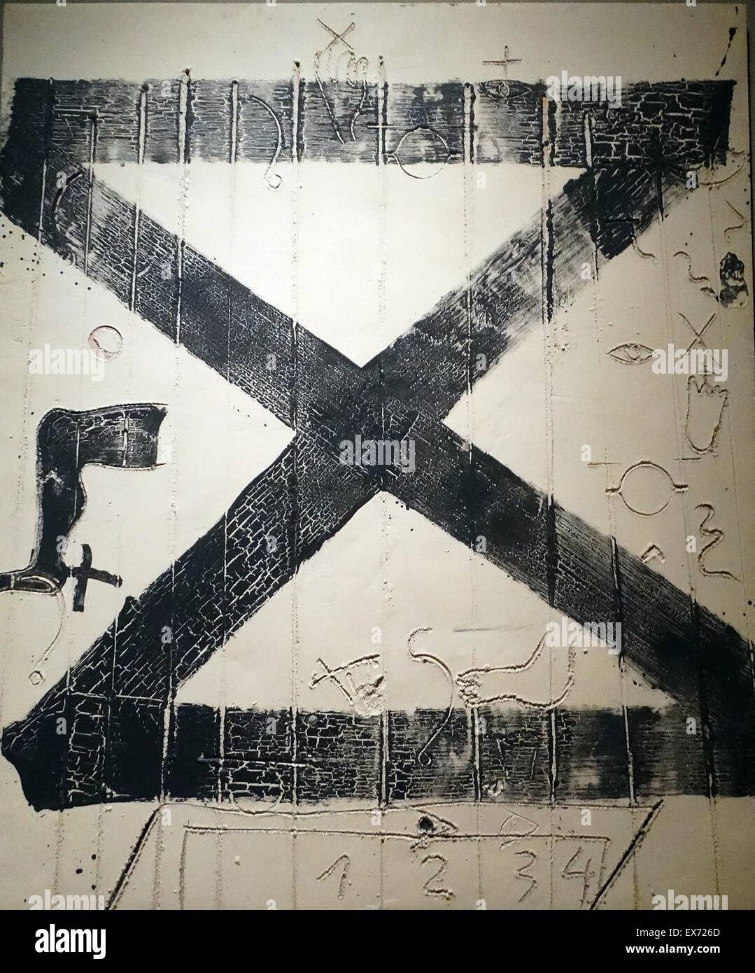 Hieroglyphics 1994 by Antoni Tàpies (1923-2012). Mixed materials on wood - Stock Image