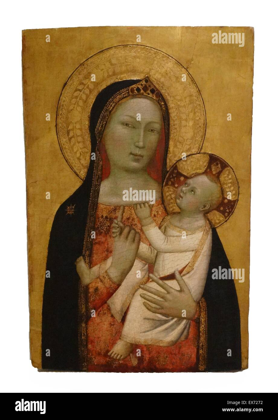 Bernardo Daddi 1312 — 1348. Virgin and Child 1340-1345. tempera and gilded with gold leaf on wood - Stock Image