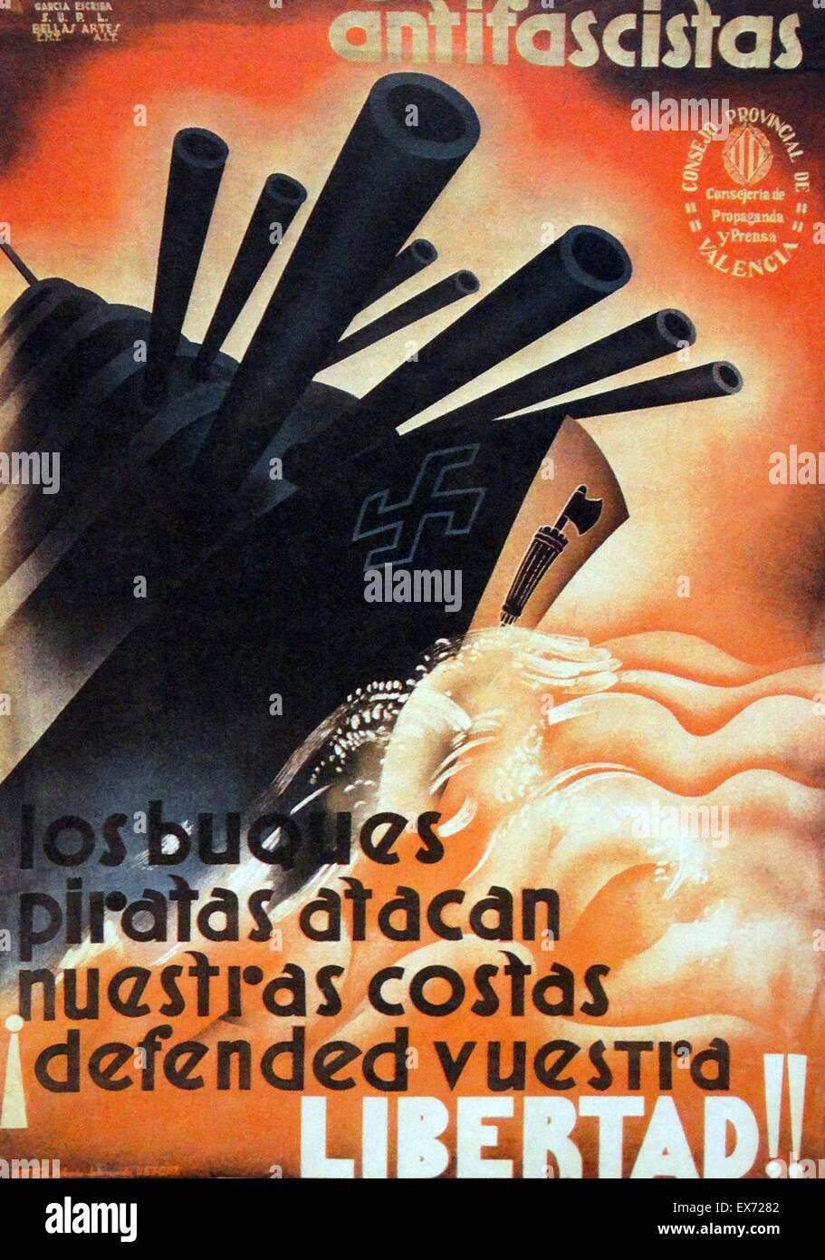 Spanish Civil War Poster; Antifascists against Pirate Ships. Antifascistas contra buque. The Italian and German - Stock Image