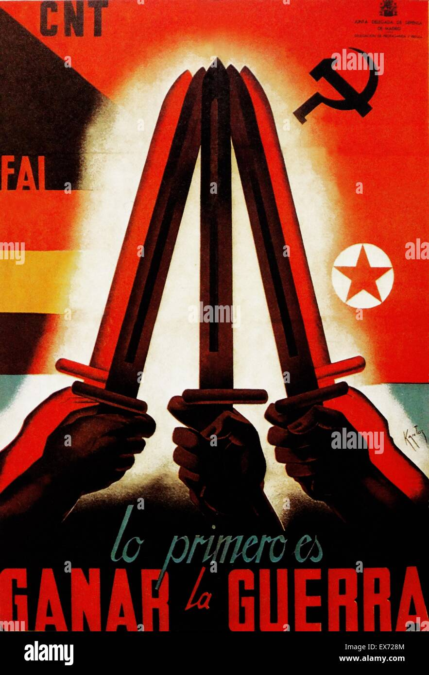Lo Primero es Ganar la Guerra, (The First Task is to win the War). Propaganda poster from the Junta Delegada de - Stock Image