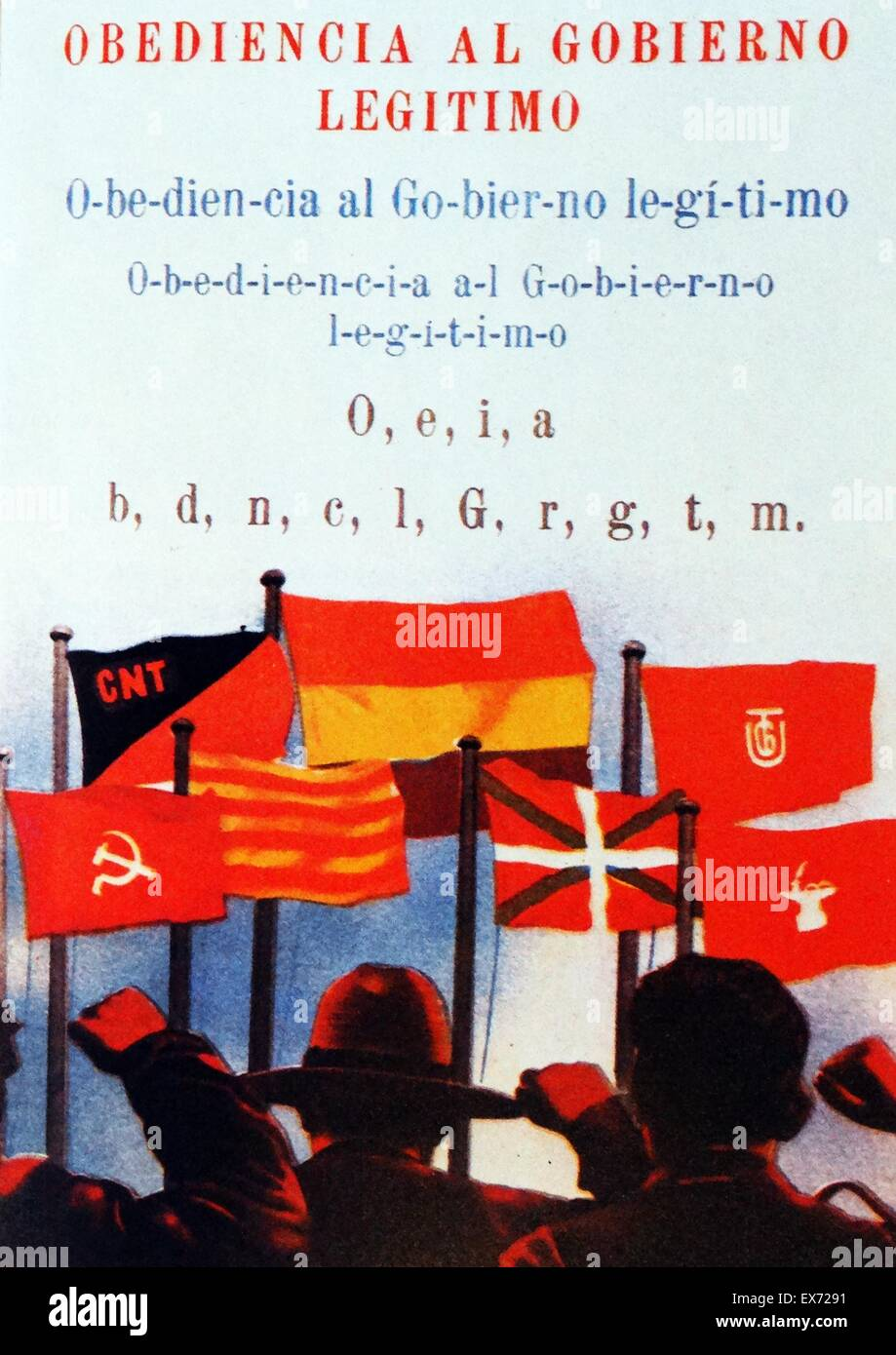 Saluting the flags of the popular front. Propaganda for the republican government of Spain, during the Spanish Civil - Stock Image