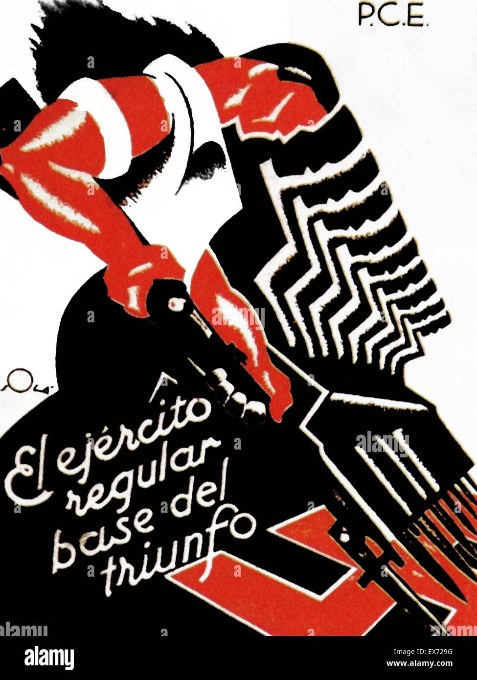 Anti-fascist poster (Mes Homes, Mes Armes, mes municiones), published by the Republican P.S.U.-U.G.T during the - Stock Image