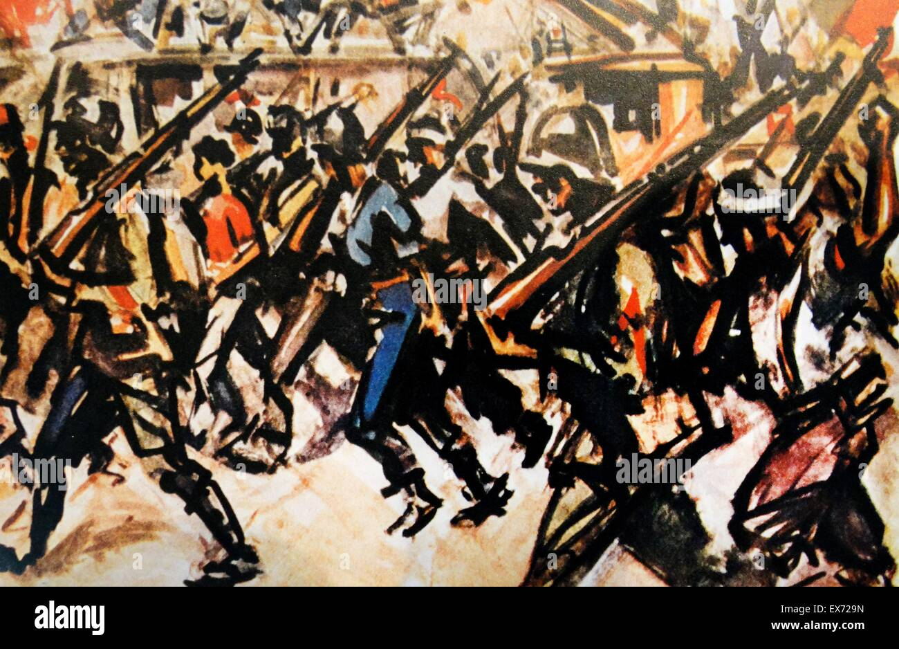 Illustration by Rey Vila depicting a march-past of republican soldiers and militias in a city in Spain, during the - Stock Image