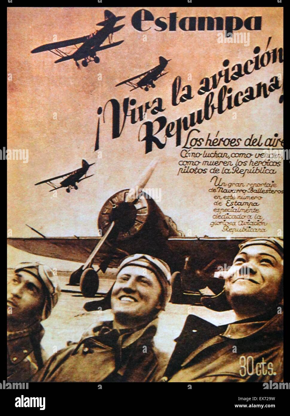 Publication praising the Republican air force during the Spanish Civil War - Stock Image
