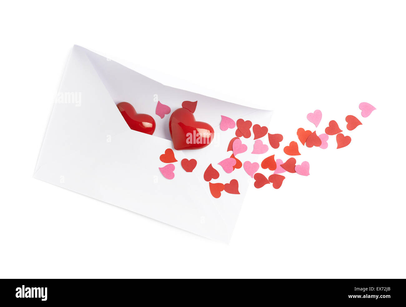 Multiple hearts in envelope - Stock Image