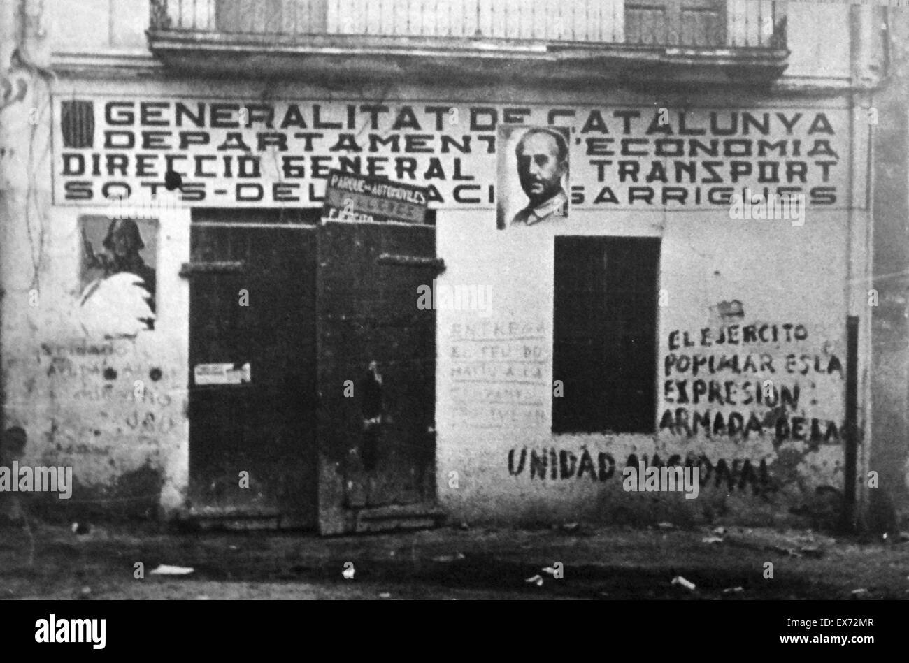 poster of General Franco is placed on a wall in Barcelona, after nationalist forces enter the city, 1939 during - Stock Image