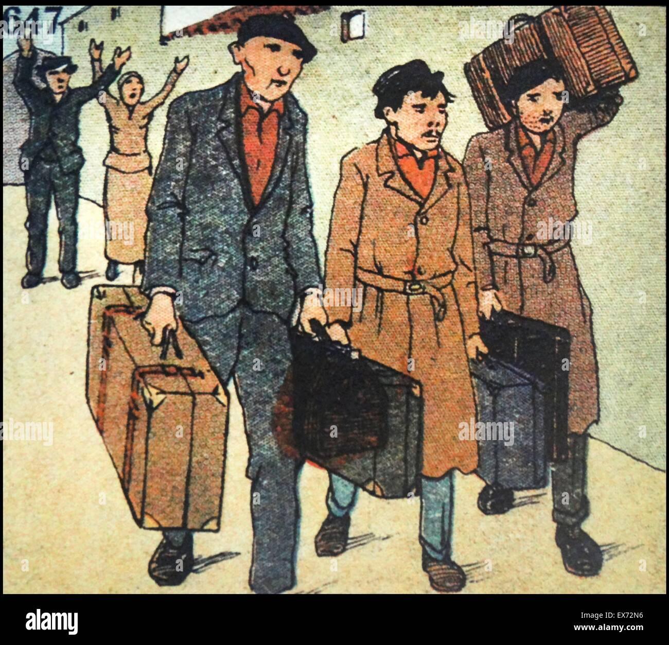 Satirical Nationalist cartoon of fleeing communists leaving Spain at the end of the Spanish Civil War - Stock Image