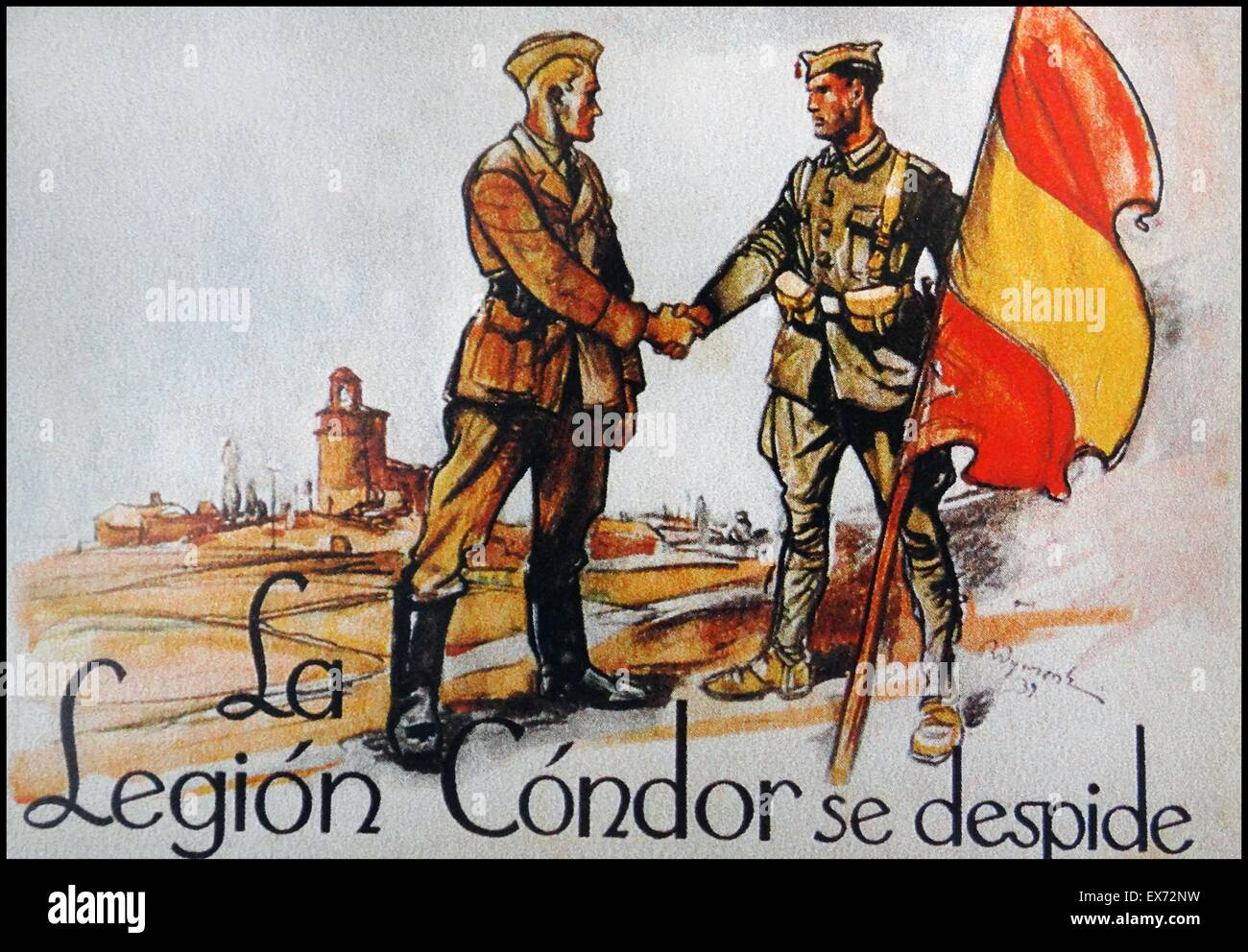 postcard showing the departure of a German Condor Legion member as he shakes hands with a Nationalist soldier, during - Stock Image