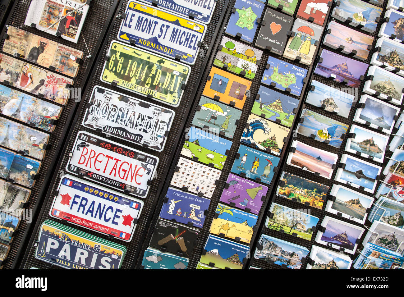 Picture post cards on sale on Mont St Michel, Normandy, France - Stock Image