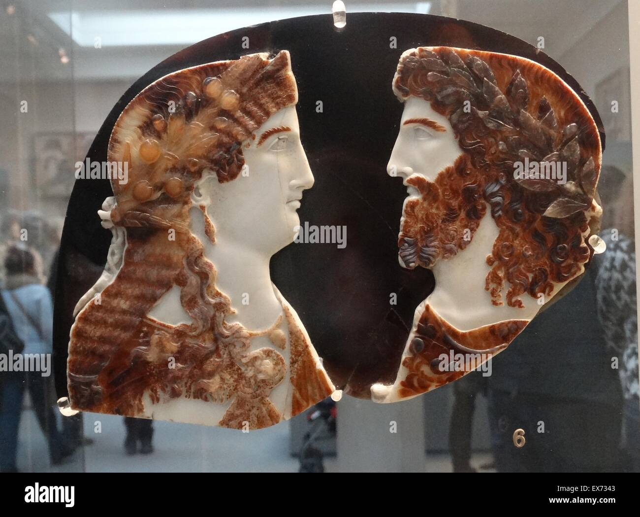 Sardonyx cameo busts of two members of the Roman Imperial family, depicted as Jupiter Ammon and Juno or Isis. About - Stock Image