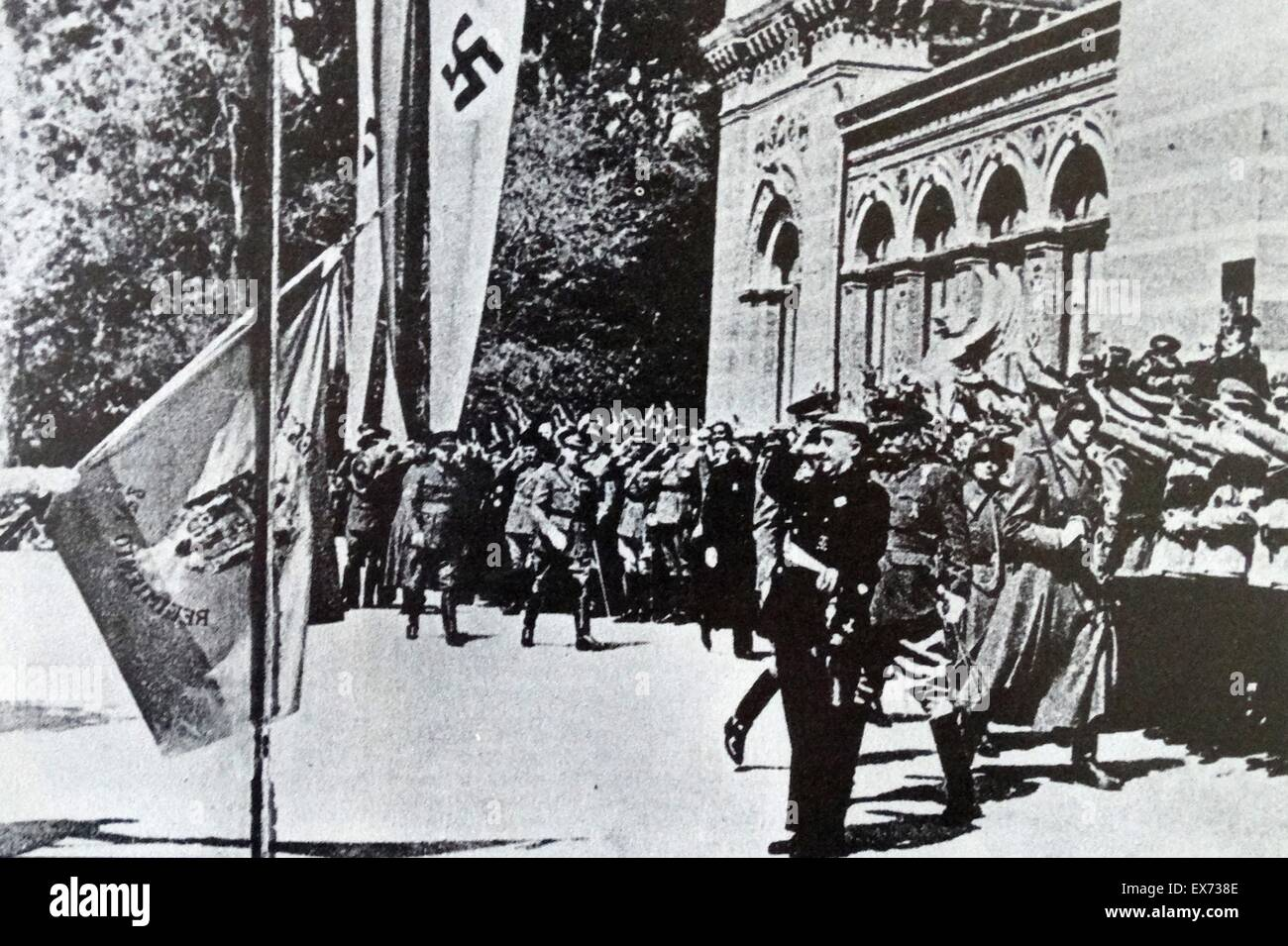 General Franco takes the salute at a parade while German soldiers look on during the Spanish Civil War - Stock Image