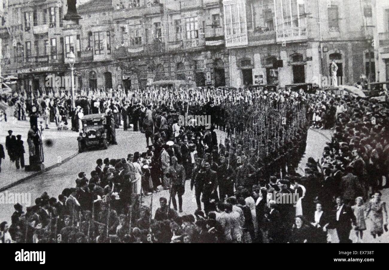 The Condor Legion marches through the Spanish city of Gijon, 1937, during the Spanish Civil War - Stock Image
