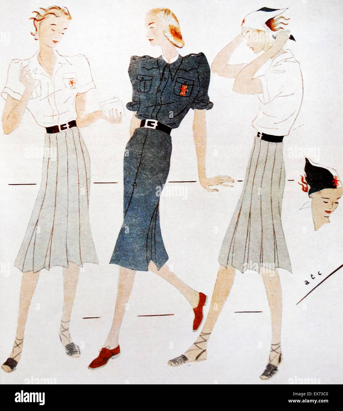 Falangist women's organisation uniforms during the Spanish Civil War - Stock Image