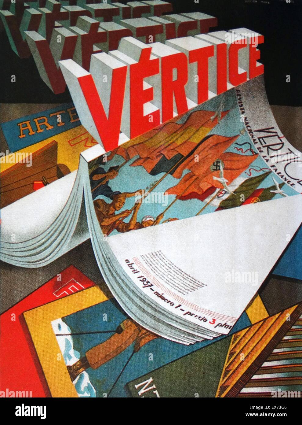 Advert for 'vertice' a Fascist Falange publication, during the Spanish Civil War - Stock Image