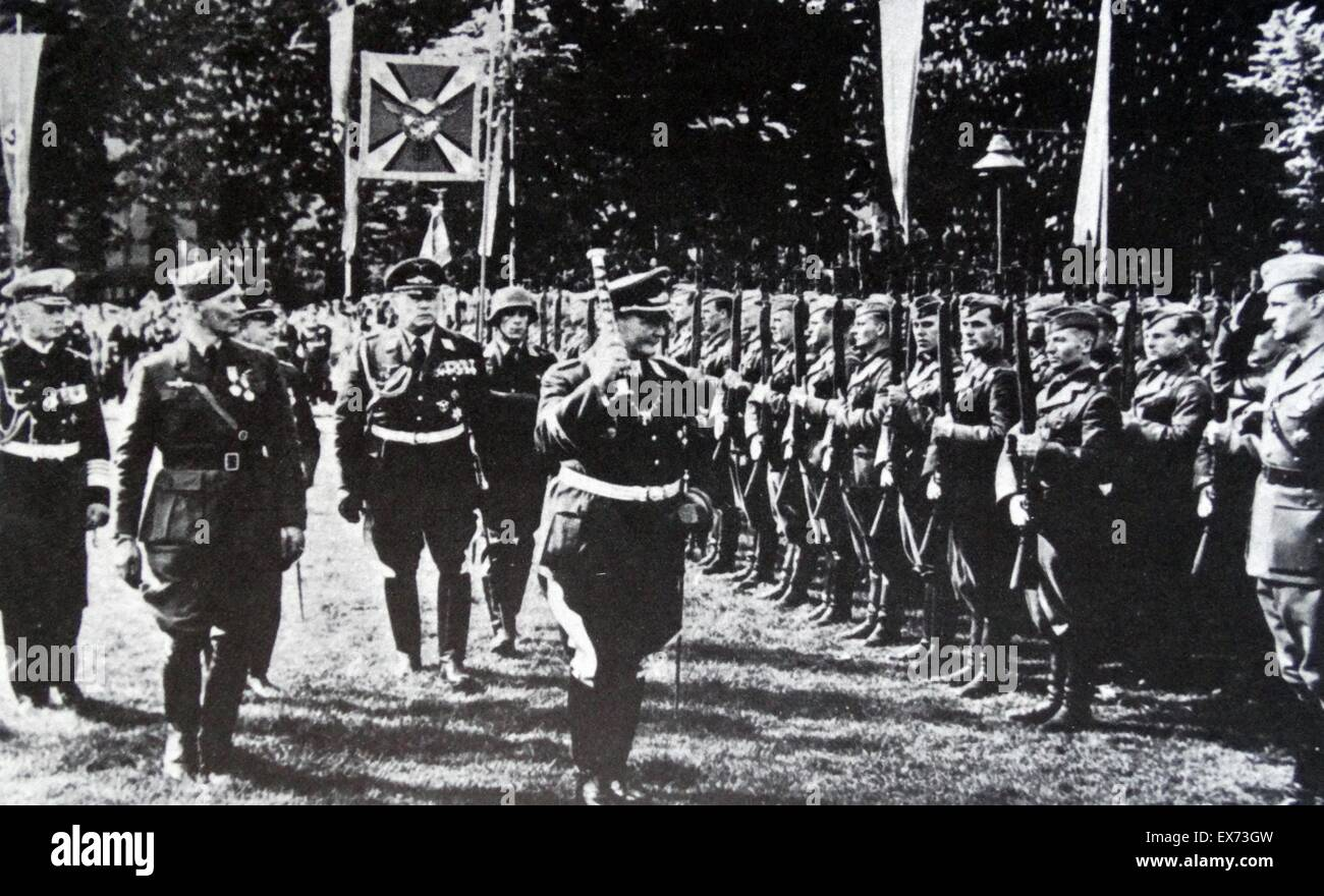 Field Marshall Herman Goring (with baton) and Hugo Sperrle (2nd from left) review the Condor Legion. The legion - Stock Image