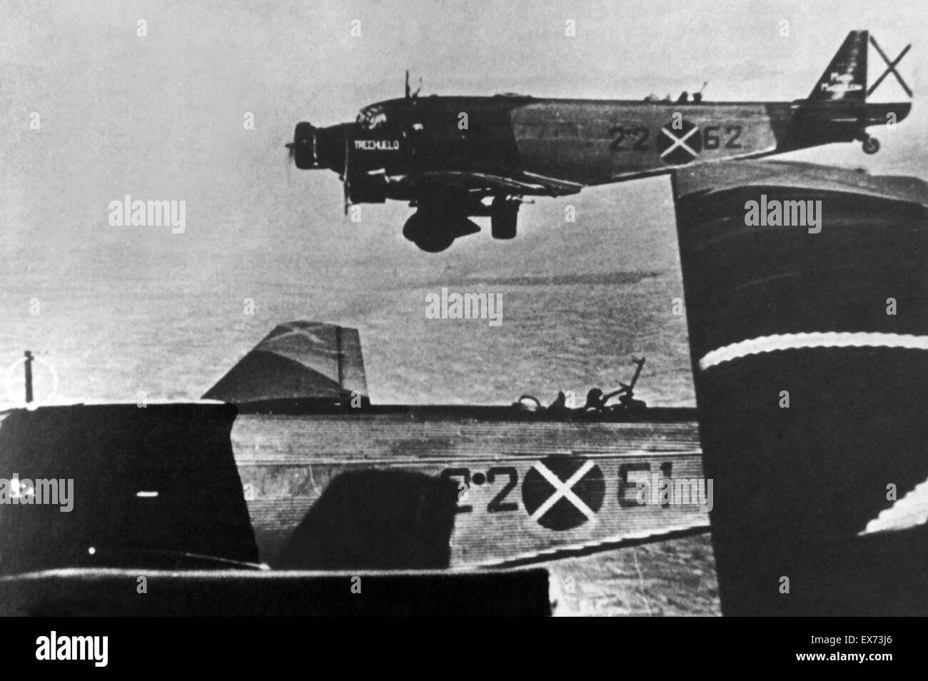 German aircraft used by the Nationalist air Force during the Spanish Civil War - Stock Image