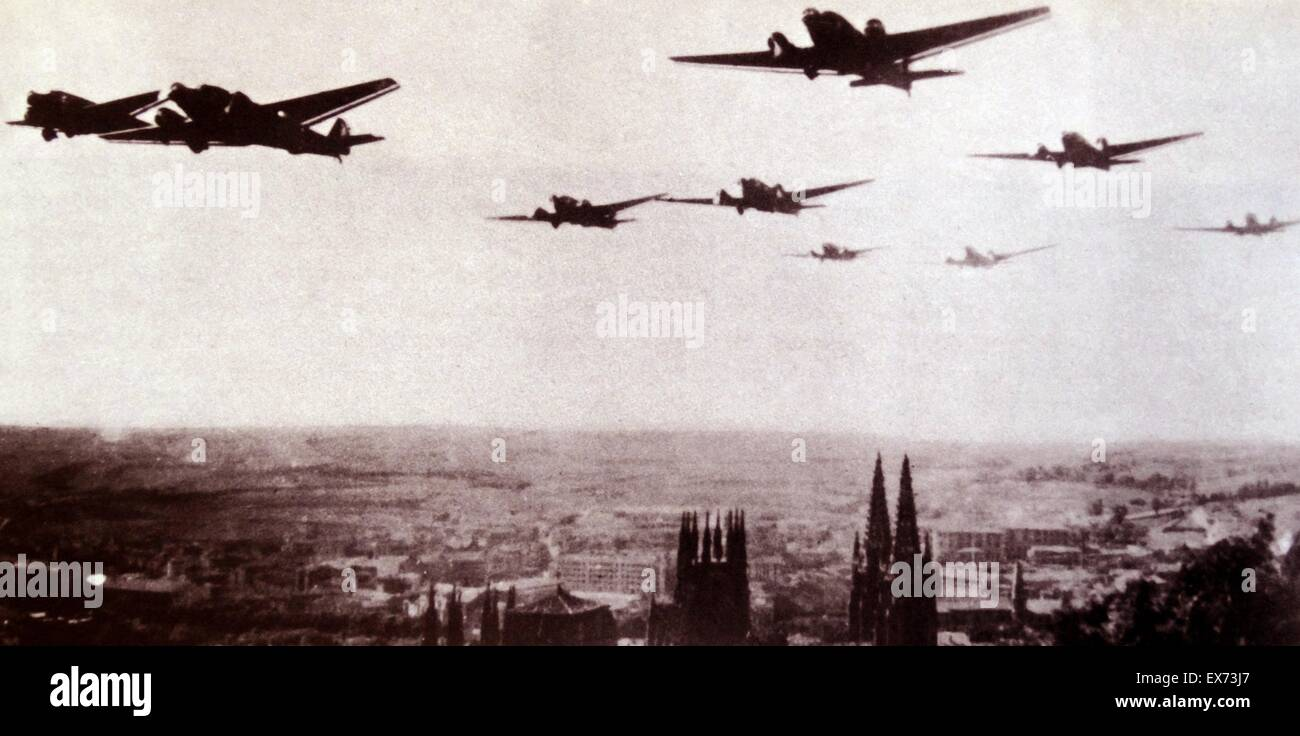 German aircraft used by the Nationalist air Force, fly over Burgos, Spain, during the Spanish Civil War - Stock Image