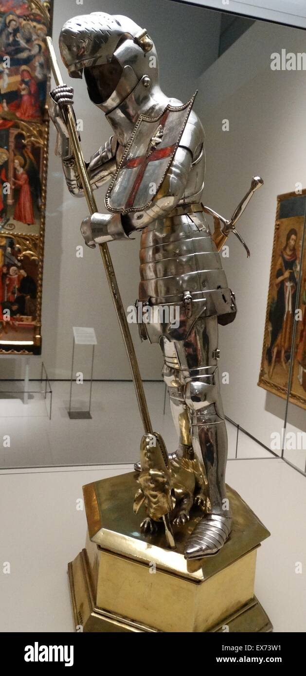 St George and the dragon, in Silver. Spanish 1420-1450 AD - Stock Image