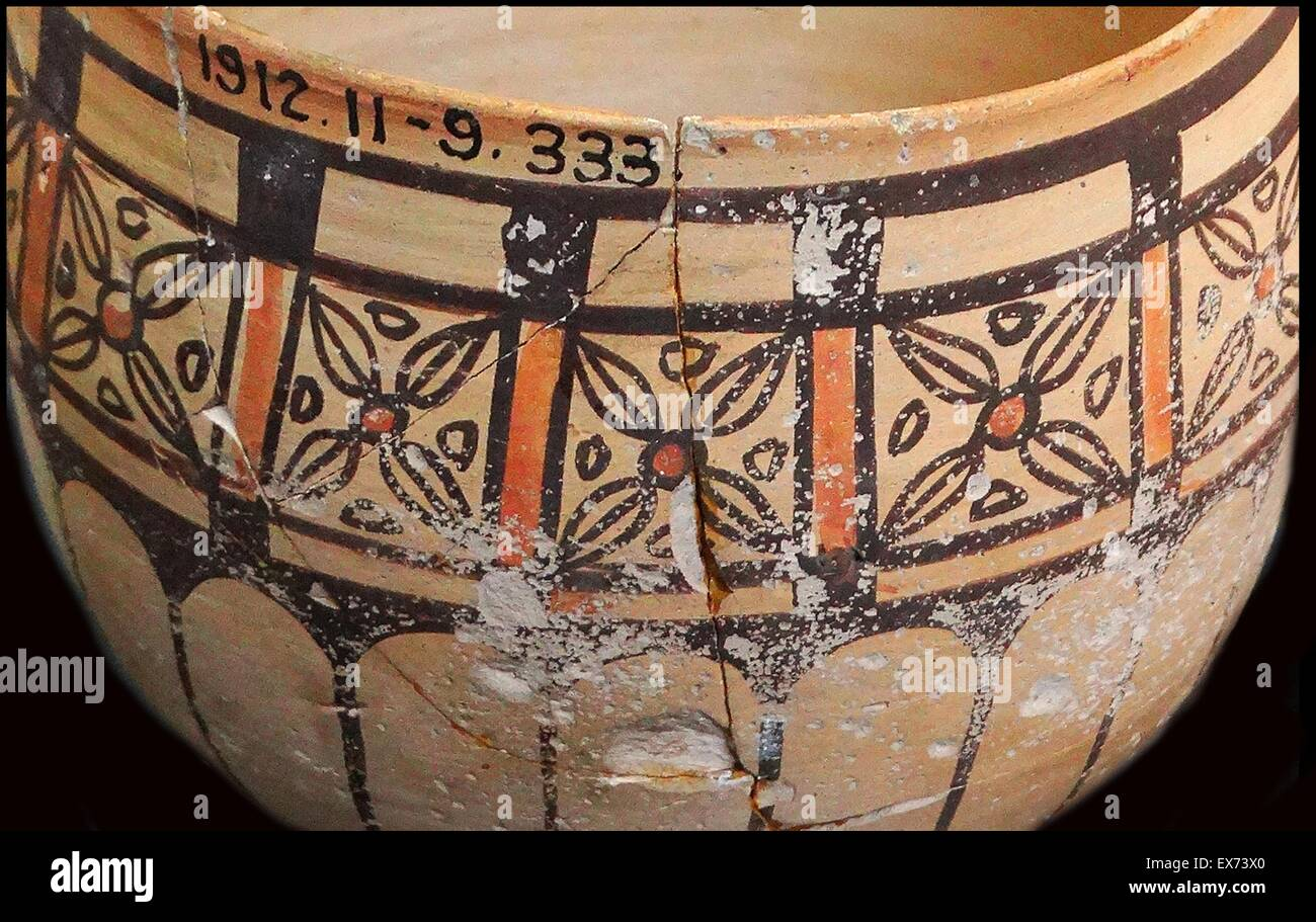 Fine ware cup with painted with geometric motifs. Meroe (an ancient city on the east bank of the Nile, near Shendi, - Stock Image