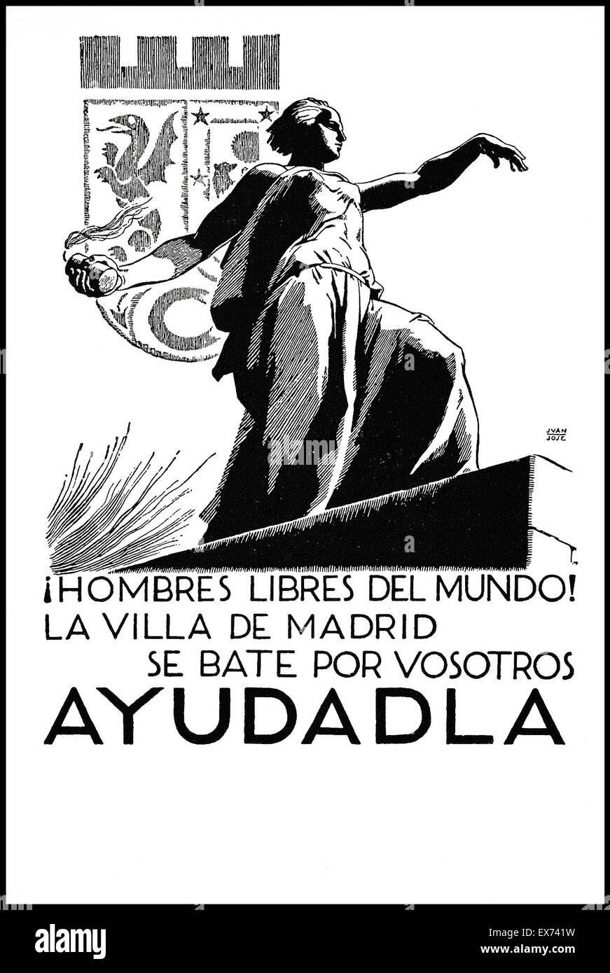 59c9f369da Spanish Civil War, Republican propaganda poster Free Men of the World! The  City of