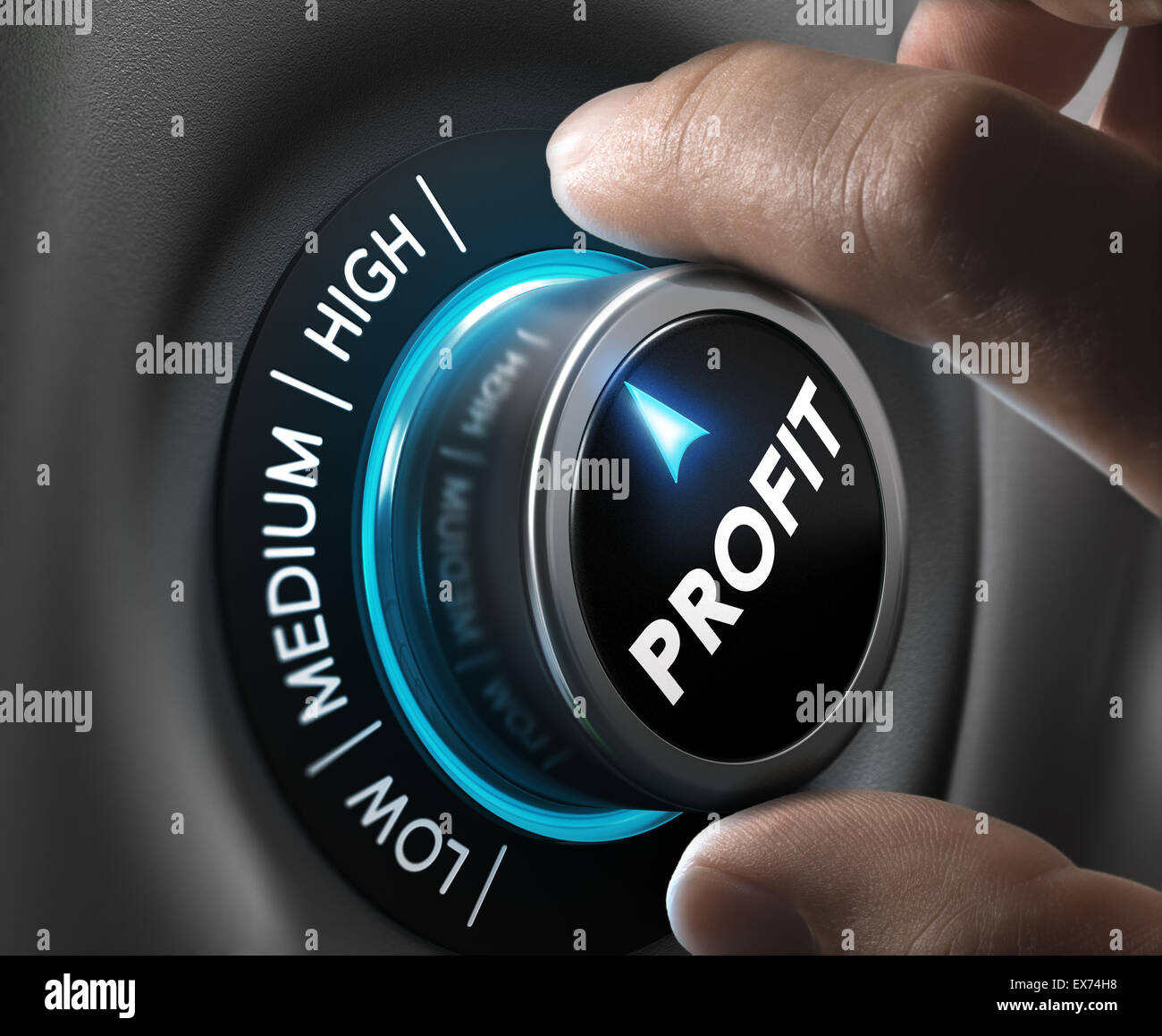 Man fingers setting profit button on highest position. Concept image for illustration of profitability or return - Stock Image