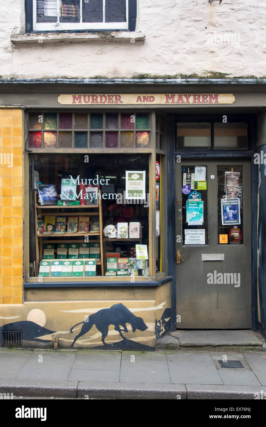 A bookshop in Hay on Wye which is famous for its second hand bookshops, Powys, Wales. - Stock Image